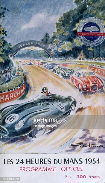 The official programme for Le Mans 24 Hours 1954 Racing cars speed round the circuit