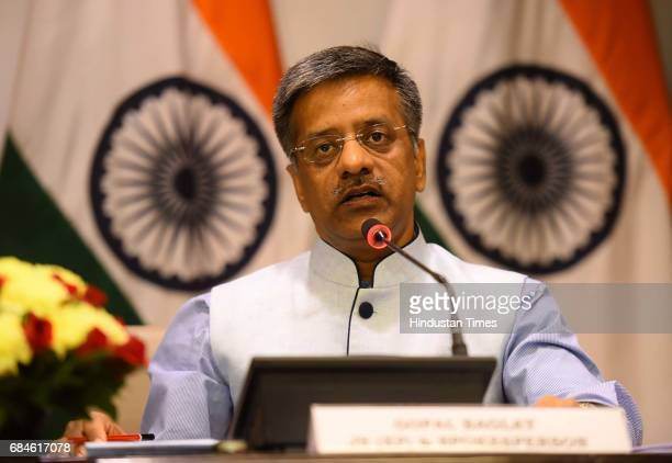 The official spokesperson of the Ministry of External Affairs Gopal Baglay addressing the media on the issue of Kulbhushan Jadhav's death sentence on...