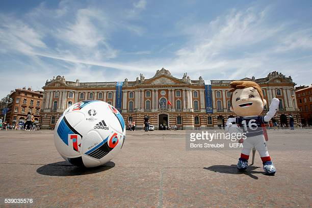The official toy mascot Super Victor is pictured in front of the Capitole ahead of the UEFA Euro 2016 on June 9 2016 in Toulouse France