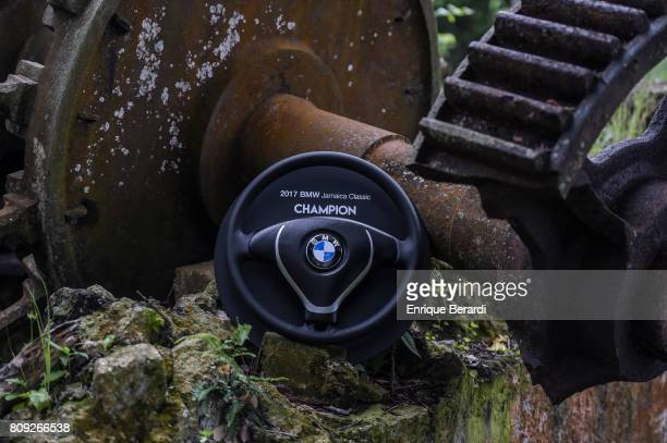 The official trophy is seen during the final round of the PGA TOUR Latinoamerica BMW Jamaica Classic at Cinnamon Hill Golf Course on June 18 2017 in...
