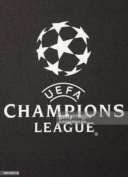 The official UEFA Champions League logo is seen during a press conference of Austrian footbal club Austria Wien ahead of a training session in Vienna...