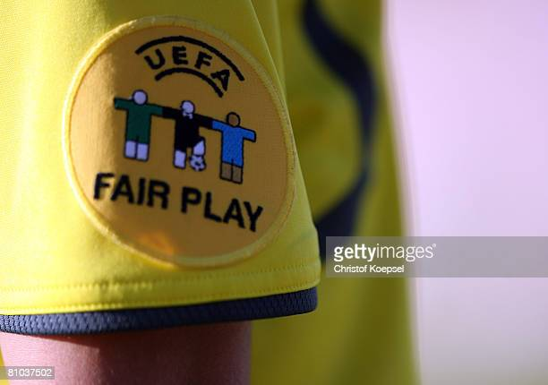 The official Uefa Fair play logo is seen during the Womens Euro 2009 qualifier match between Belgium and Germany at the KASStadium on May 7 2008 in...