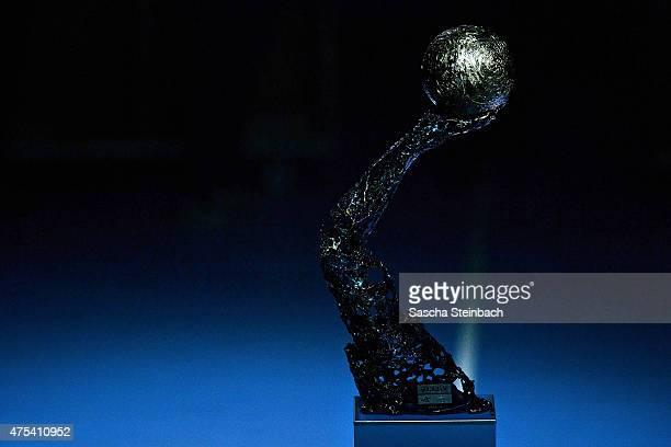 The official VELUX EHF Championship trophy is seen after the 'VELUX EHF FINAL4' final match between FC Barcelona and MKBMVM Veszprem at Lanxess Arena...
