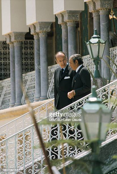 The Official Visit Of Valery Giscard D'estaing In Morocco A Rabat le lendemain matin les conversations politiques sur les marches du palais royal On...