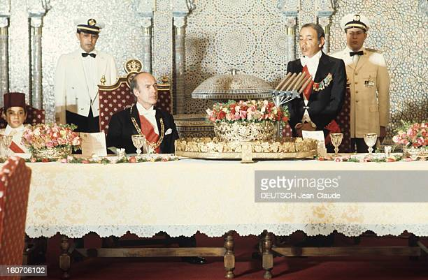 The Official Visit Of Valery Giscard D'estaing In Morocco Dans le palais royal de Riad le grand dîner d'apparat a lieu dans une vaste salle toute...