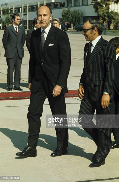 The Official Visit Of Valery Giscard D'estaing In Morocco Le président Valéry GISCARD D'ESTAING et le roi du Maroc HASSAN II tous deux vêtus d'un...