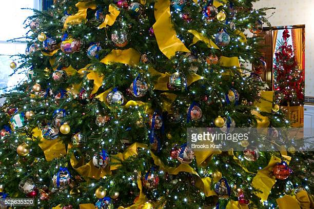 The Official White House Christmas tree on display in the Blue Room of the White House in Washington The Douglas Fir is over 18 feet high and 13 feet...