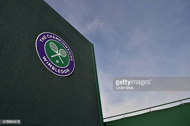 The official Wimbledon Championships logo is seen on day one of the 2015 Wimbledon Championships at The All England Tennis Club in Wimbledon...