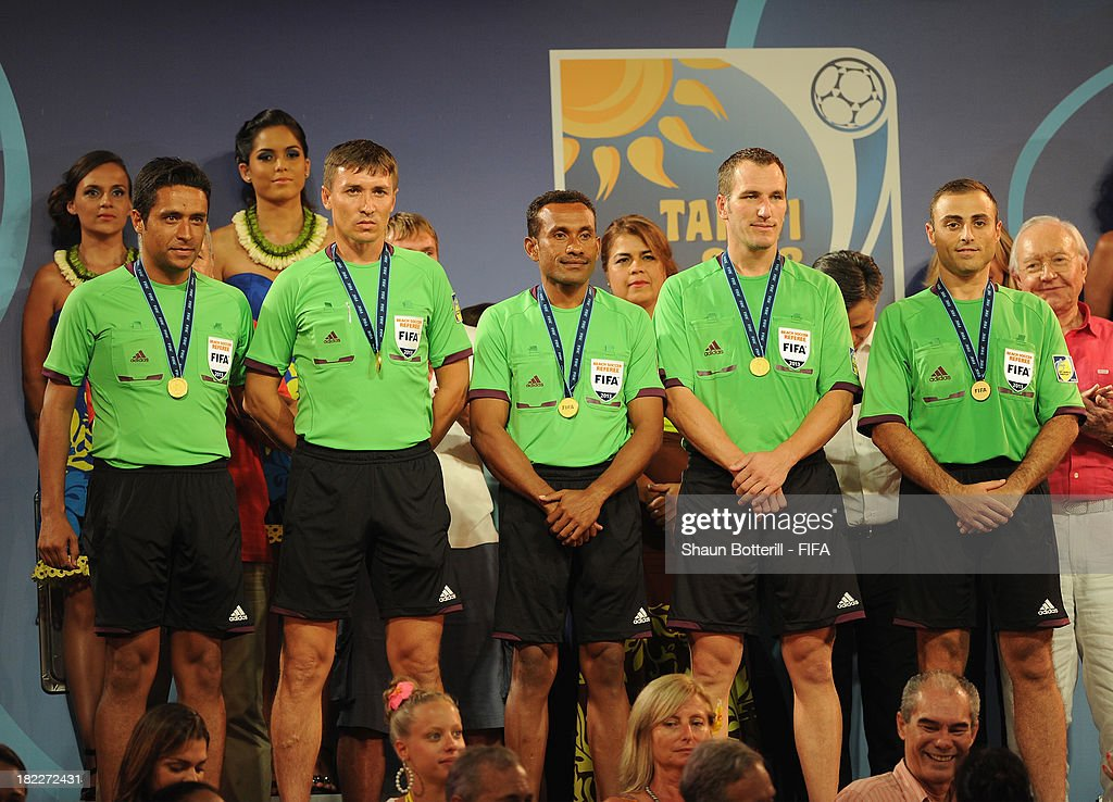 The officials Serdar Akcer, Christian Zimmermann, Hugo Pado, Mariano Romo and Bakhtiyor Namazov after the FIFA Beach Soccer World Cup Tahiti 2013 Final match between Spain and Russia at the Tahua To'ata stadium on September 28, 2013 in Papeete, French Polynesia.