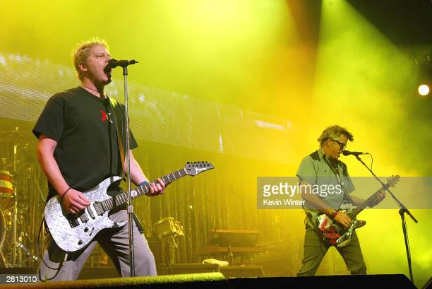 The Offspring with singer Dexter Holland performs at KROQ's 2003 Almost Acoustic Christmas at the Universal Amphitheatre on December 13 2003 in Los...