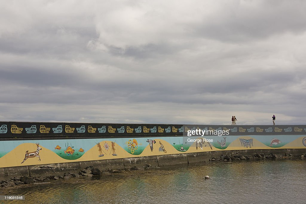 The Ogden Point breakwater seawall is viewed on July 2, 2011 in Victoria, British Columbia, Canada. This coastal city, located on the southern tip of Vancouver Island, is a popular destination for cruise ships.