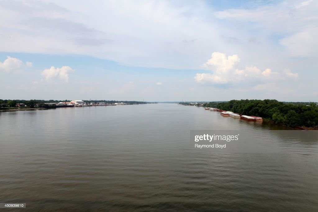 The Ohio River as photographed from the Big Four Railroad Bridge Pedestrian and Bicycle Path on May 30 2014 in Louisville Kentucky