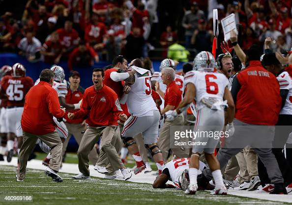 The Ohio State Buckeyes celebrate after an interception against the Alabama Crimson Tide during the All State Sugar Bowl at the MercedesBenz...