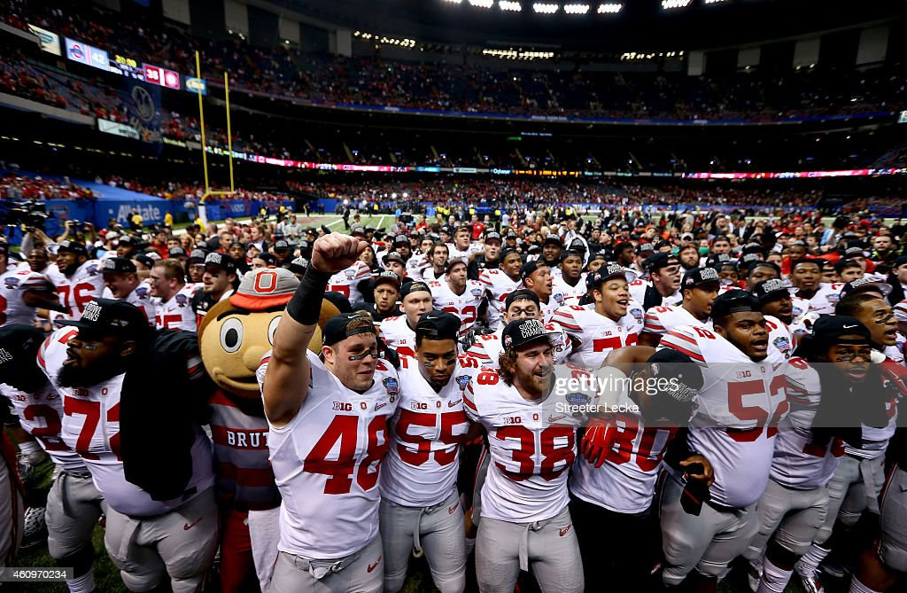 The Ohio State Buckeyes celebrate after defeating the Alabama Crimson Tide during the All State Sugar Bowl at the Mercedes-Benz Superdome on January 1, 2015 in New Orleans, Louisiana. The Ohio State Buckeyes defeated the Alabama Crimson Tide 42 to 35.