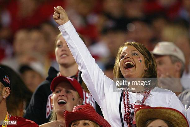 The Ohio State Buckeyes fans celebrate during the BCS championship game against the University of Miami Hurricanes during the Tostitos Fiesta Bowl at...