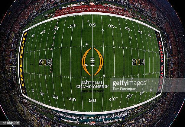 The Ohio State Buckeyes kick off to the Oregon Ducks during the College Football Playoff National Championship Game at ATT Stadium on January 12 2015...