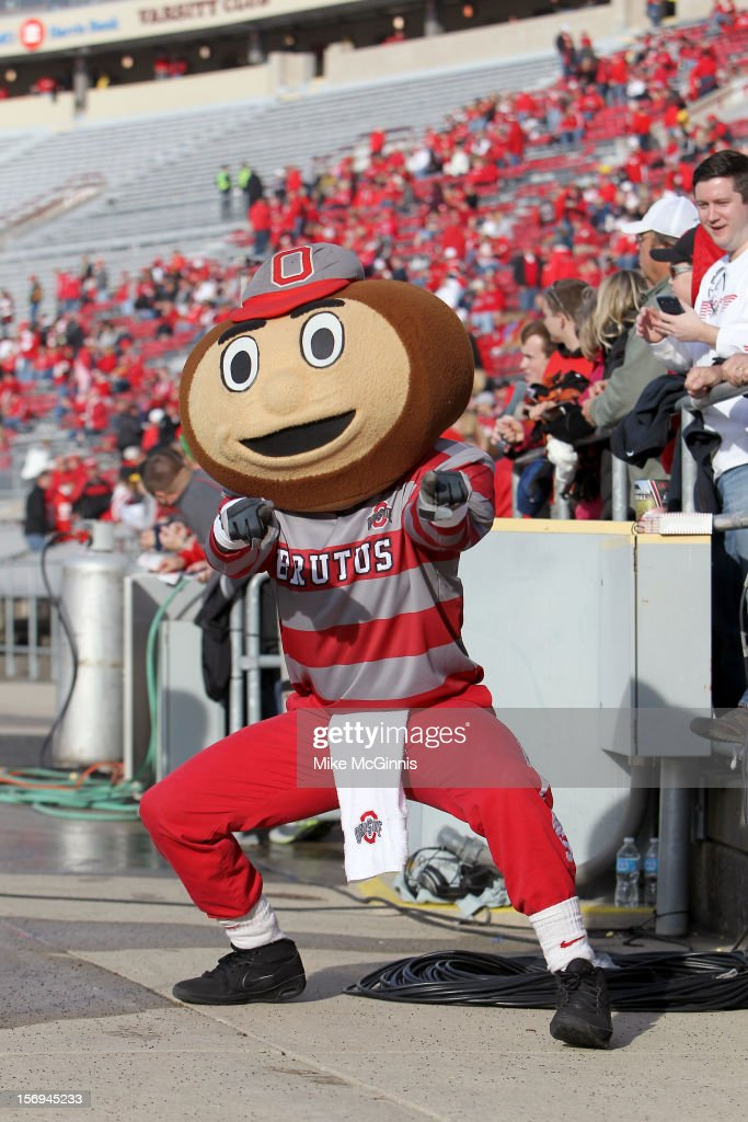 The Ohio State Buckeyes mascot Brutus posses for a picture before the game against the Wisconsin Badgers during the game at Camp Randall Stadium on November 17, 2012 in Madison, Wisconsin.