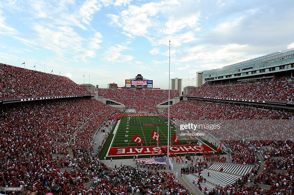 The Ohio State Buckeyes take the field at Ohio Stadium before a game against the Marshall Thundering Herd on September 2 2010 in Columbus Ohio