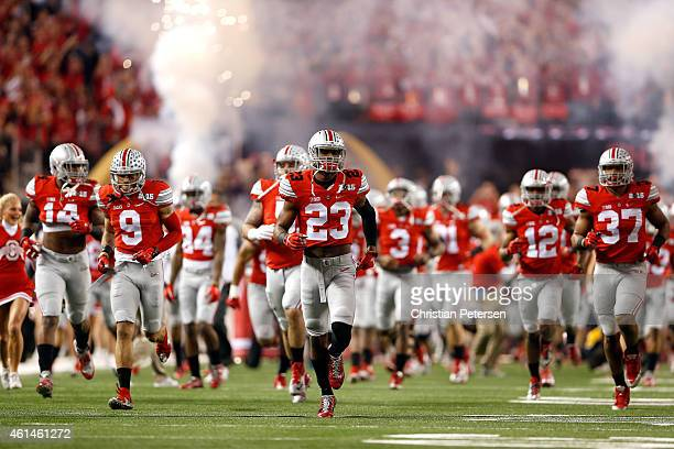 The Ohio State Buckeyes take the field prior to the College Football Playoff National Championship Game against the Oregon Ducks at ATT Stadium on...