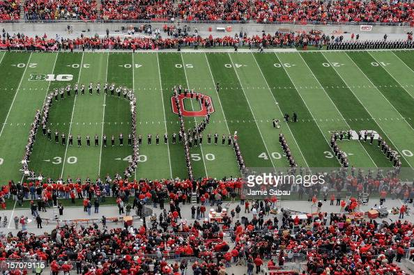 The Ohio State Marching Band performs the Script Ohio before the game against the Michigan Wolverines at Ohio Stadium on November 24 2012 in Columbus...