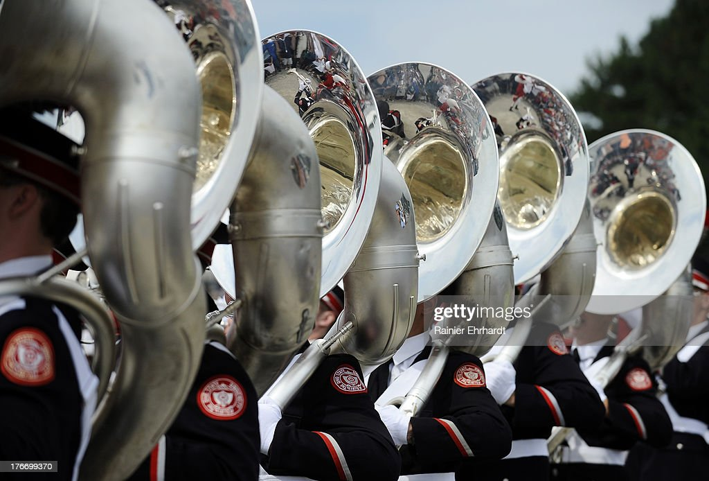 The Ohio State University marching band performs before the Nationwide Children's Hospital 200 at Mid-Ohio Sports Car Course on August 17, 2013 in Lexington, Ohio.
