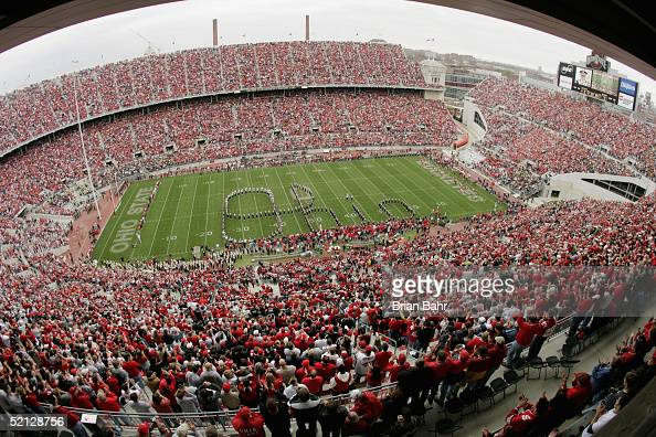 The Ohio State University Marching Band spells the word 'Ohio' during an intermission in the game between the Ohio State University Buckeyes and the...