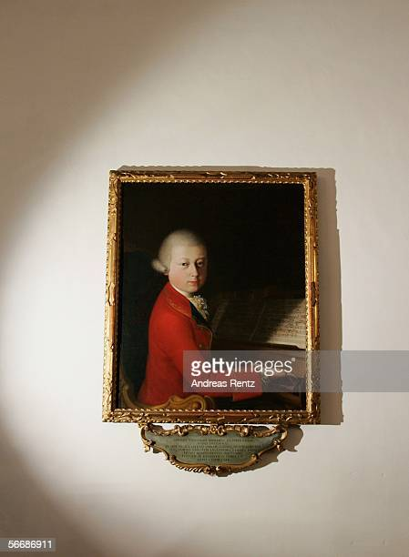The oil painting 'Mozart in Verona' painted by Saverio Dalla Rosa in 1770 and on loan from Jean Cortot is seen at the residential house of Wolfgang...