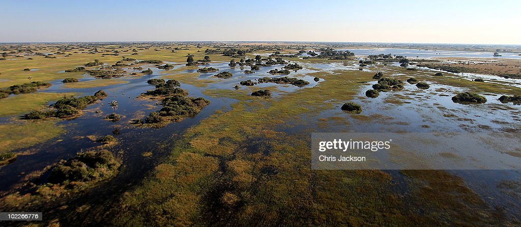 The Okavango delta is seen from the air outside Jao Luxury Safari Camp on June 18 2010 in Maun Botswana Camps run by Wilderness Safaris such as Jao...