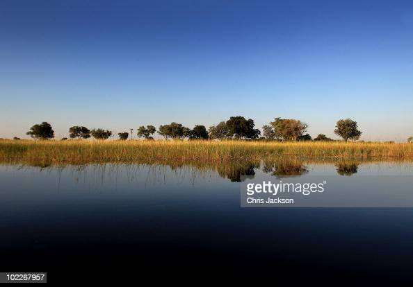 The Okavango delta is seen outside Jao Luxury Safari Camp on June 18 2010 in Maun Botswana Camps run by Wilderness Safaris such as Jao and Kingspool...