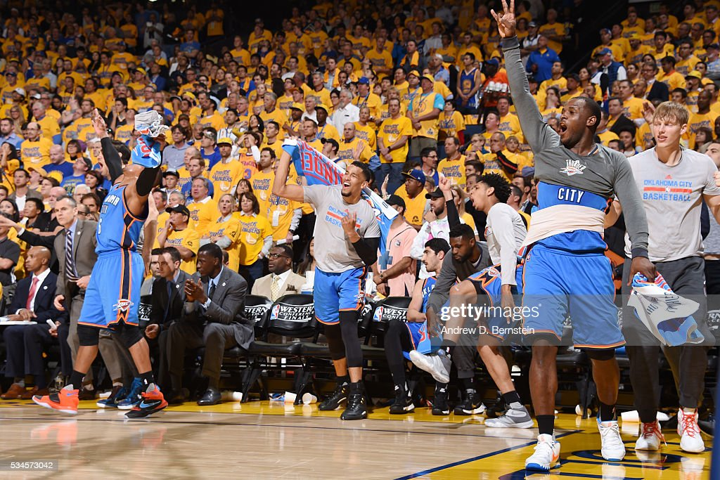 The Oklahoma City Thunder bench celebrates during the game against the Golden State Warriors in Game Five of the Western Conference Finals during the 2016 NBA Playoffs on May 26, 2016 at ORACLE Arena in Oakland, California.