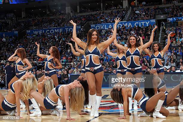 The Oklahoma City Thunder dance team performs during a game against the Sacramento Kings on November 9 2014 at Chesapeake Energy Arena in Oklahoma...
