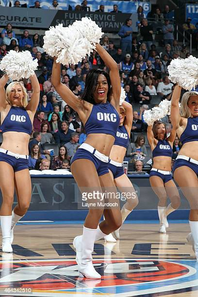 The Oklahoma City Thunder dance team performs during a game against the Indiana Pacers on February 24 2015 at Chesapeake Energy Arena in Oklahoma...