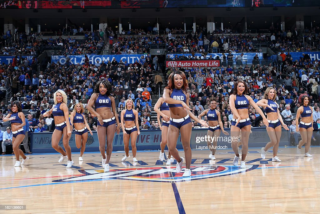 The Oklahoma City Thunder dance team performs during half time against the Memphis Grizzlies on January 31, 2013 at the Chesapeake Energy Arena in Oklahoma City, Oklahoma.