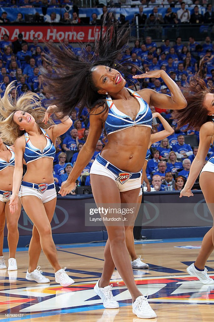 The Oklahoma City Thunder dance team performs during halftime of the game against the Houston Rockets in Game Two of the Western Conference Quarter Finals during the 2013 NBA playoffs on April 24, 2013 at the Chesapeake Energy Arena in Oklahoma City, Oklahoma.