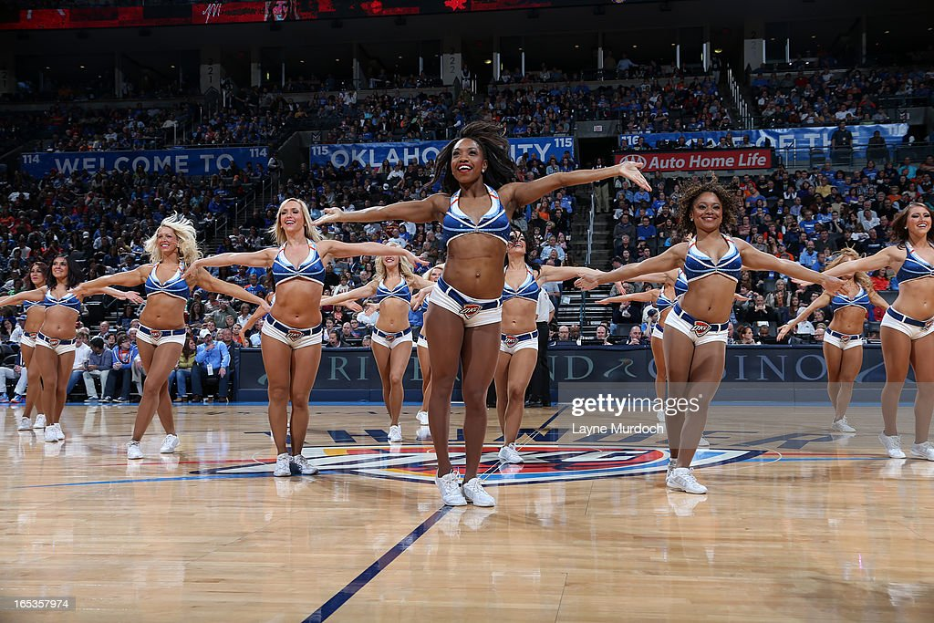The Oklahoma City Thunder dance team performs during the game against the Portland Trail Blazers on March 24, 2013 at the Chesapeake Energy Arena in Oklahoma City, Oklahoma.
