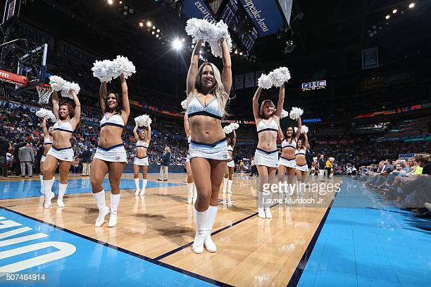 The Oklahoma City Thunder dance team performs during the game against the Houston Rockets on January 29 2016 at Chesapeake Energy Arena in Oklahoma...