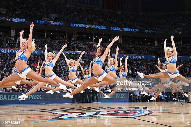 The Oklahoma City Thunder dancers perform during the game against the New Orleans Pelicans on November 18 2015 at Chesapeake Energy Arena in Oklahoma...