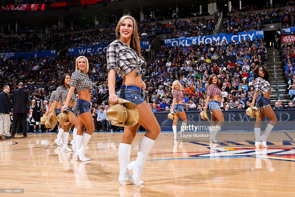 The Oklahoma City Thunder Girls perform during a game between the Thunder and Minnesota Timberwolves on January 9, 2013 at the Chesapeake Energy Arena in Oklahoma City, Oklahoma.