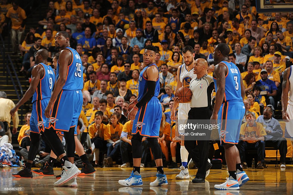 The Oklahoma City Thunder head off the court against the Golden State Warriors during Game Five of the Western Conference Finals during the 2016 NBA Playoffs on May 26, 2016 at ORACLE Arena in Oakland, California.