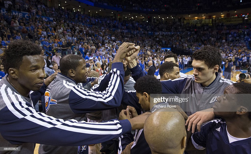 The Oklahoma City Thunder huddle before a game against the New Orleans Pelicans at the Chesapeake Arena on April 11, 2014 in Oklahoma City, Oklahoma.