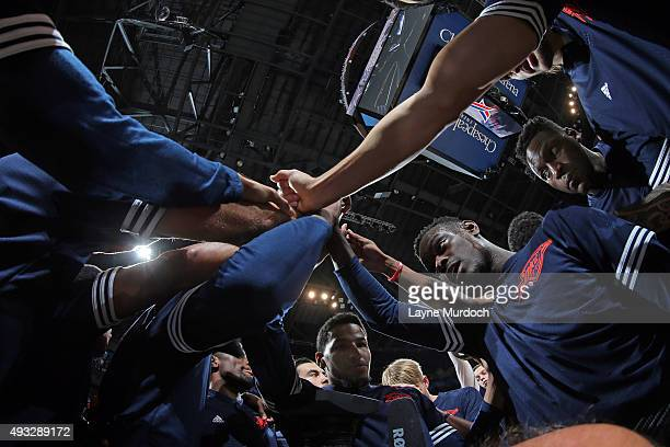 The Oklahoma City Thunder huddle before the game against the Denver Nuggets during a preseason game on October 18 2015 at Chesapeake Energy Arena in...
