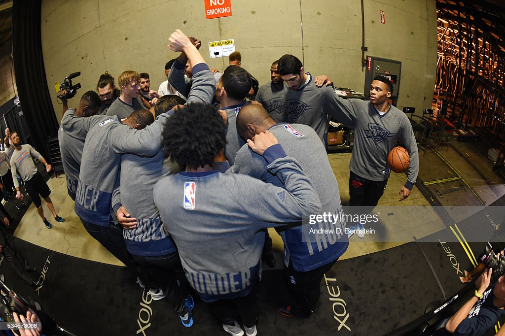 The Oklahoma City Thunder huddle before the game against the Golden State Warriors in Game Five of the Western Conference Finals during the 2016 NBA Playoffs on May 26, 2016 at ORACLE Arena in Oakland, California.