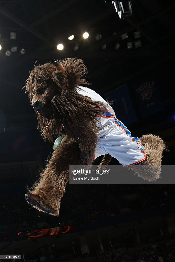 The Oklahoma City Thunder mascot dunks during the game against the San Antonio Spurs on April 4, 2013 at the Chesapeake Energy Arena in Oklahoma City, Oklahoma.