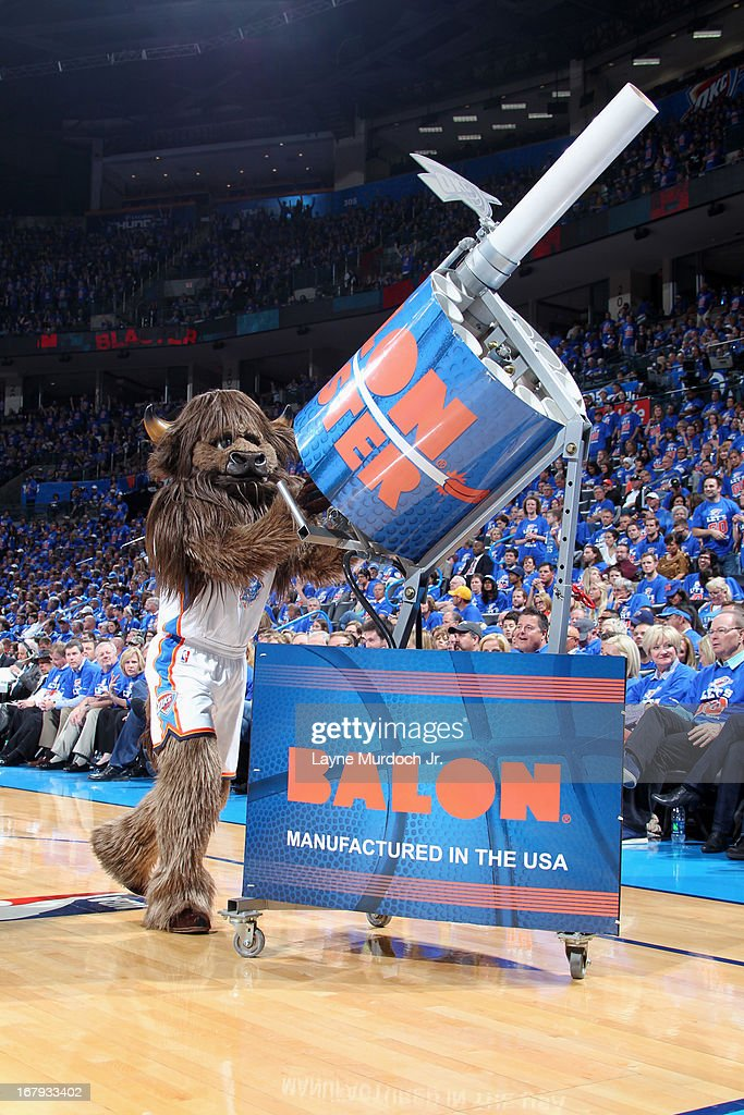 The Oklahoma City Thunder mascot throws shirts to the fans during the game against the Houston Rockets in Game Five of the Western Conference Quarterfinals during the 2013 NBA Playoffs on May 1, 2013 at the Chesapeake Energy Arena in Oklahoma City, Oklahoma.