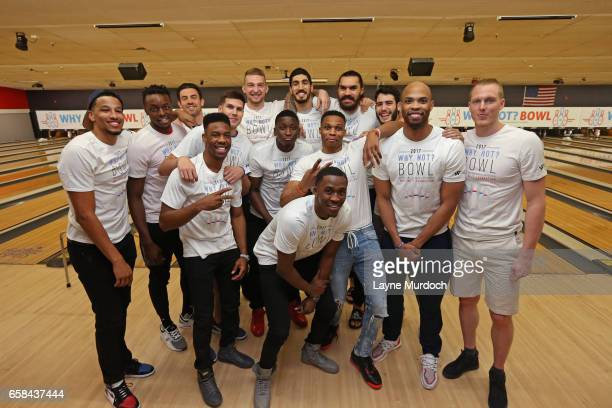 The Oklahoma City Thunder pose for a group photo during Russell Westbrook's 7th annual Why Not Foundation bowling event on March 24 2017 at the AMF...