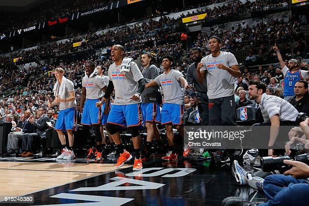 The Oklahoma City Thunder react after a play against the San Antonio Spurs during the game on March 12 2016 at ATT in San Antonio Texas NOTE TO USER...