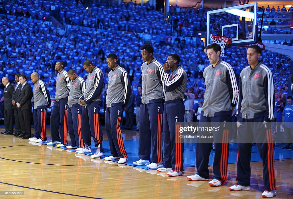 The Oklahoma City Thunder stand attended for the National Anthem before Game One of the Western Conference Quarterfinals of the 2013 NBA Playoffs against the Houston Rockets at Chesapeake Energy Arena on April 21, 2013 in Oklahoma City, Oklahoma.