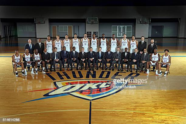 The Oklahoma City Thunder team coaches and front office personnel pose for the 20152016 official team photo on March 8 2016 at the Integris Health...