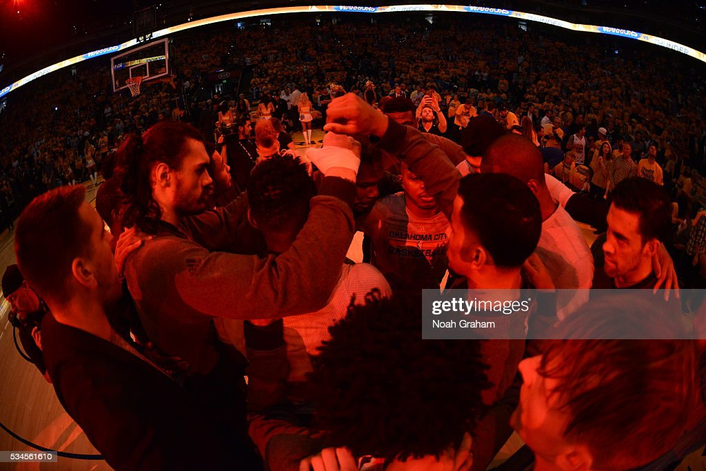 The Oklahoma City Thunder warm up before the game against the Golden State Warriors for Game Five of the Western Conference Finals during the 2016 NBA Playoffs on May 26, 2016 at ORACLE Arena in Oakland, California.