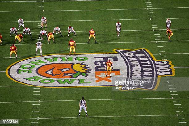 The Oklahoma Sooners face the USC Trojans in the 2005 FedEx Orange Bowl National Championship on January 4 2005 at Pro Player Stadium in Miami...
